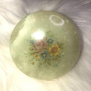 Genuine Alabaster floral trinket box keepsake
